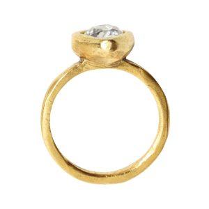 Ring Organic Bezel Mini Drop Size 7Antique Gold