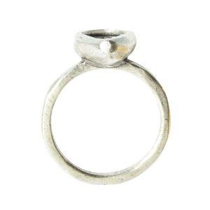 Ring Organic Bezel Mini Drop Size 7Antique Silver