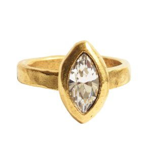 Ring Organic Bezel Mini Navette Size 7<br>Antique Gold