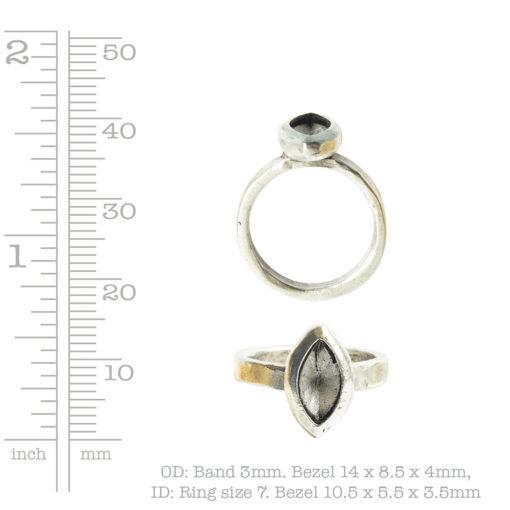 Ring Organic Bezel Mini Navette Size 7Antique Gold