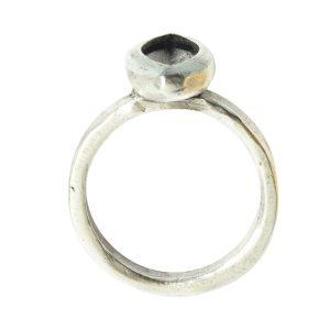 Ring Organic Bezel Mini Navette Size 7<br>Antique Silver