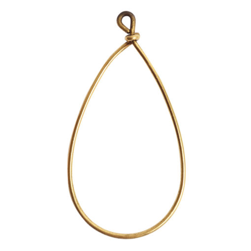 Wire Frame Large Pear Single LoopAntique Gold