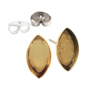 Earring Post Bitsy NavetteAntique Gold Nickel Free