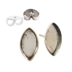 Earring Post Bitsy NavetteAntique Silver Nickel Free