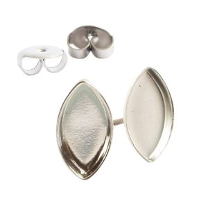 Earring Post Bitsy NavetteSterling Silver Plate Nickel Free