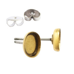 Earring Post Bitsy OvalAntique Gold Nickel Free