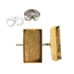 Earring Post Bitsy RectangleAntique Gold Nickel Free