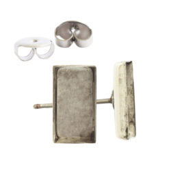 Earring Post Bitsy RectangleAntique Silver Nickel Free