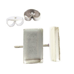 Earring Post Bitsy RectangleSterling Silver Plate Nickel Free