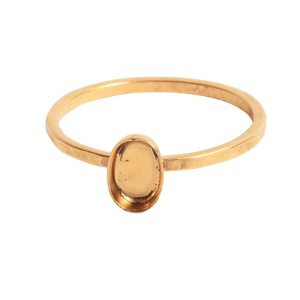 Ring Hammered Thin Bitsy Oval Size 7Antique Gold