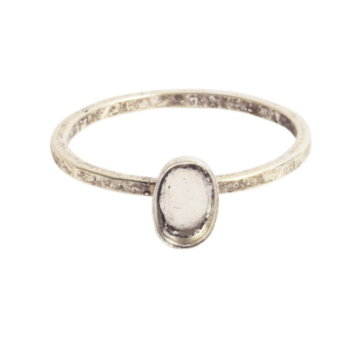 Ring Hammered Thin Bitsy Oval Size 7Antique Silver