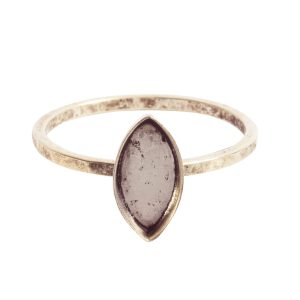 Ring Hammered Thin Bitsy Navette Size 7Antique Silver