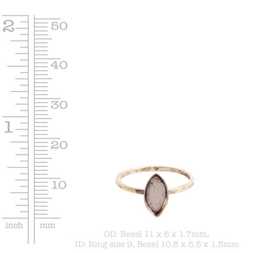 Ring Hammered Thin Bitsy Navette Size 9Antique Gold