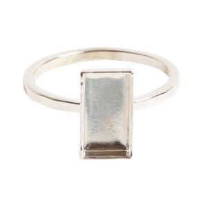 Ring Hammered Thin Bitsy Rectangle Size 8Sterling Silver Plate