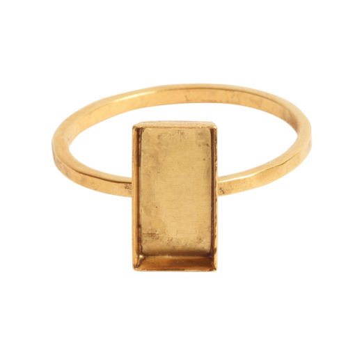 Ring Hammered Thin Bitsy Rectangle Size 9Antique Gold