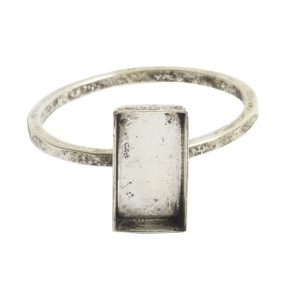 Ring Hammered Thin Bitsy Rectangle Size 9Antique Silver