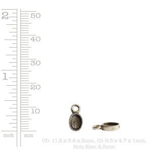 Bitsy Bezel Oval Single Loop<br>Sterling Silver Plate