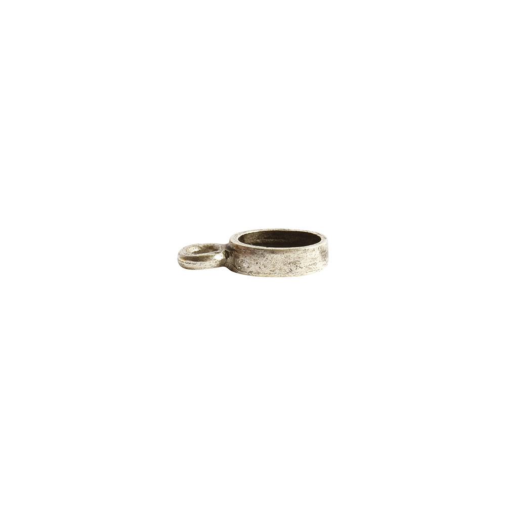 Bitsy Bezel Oval Single LoopAntique Silver