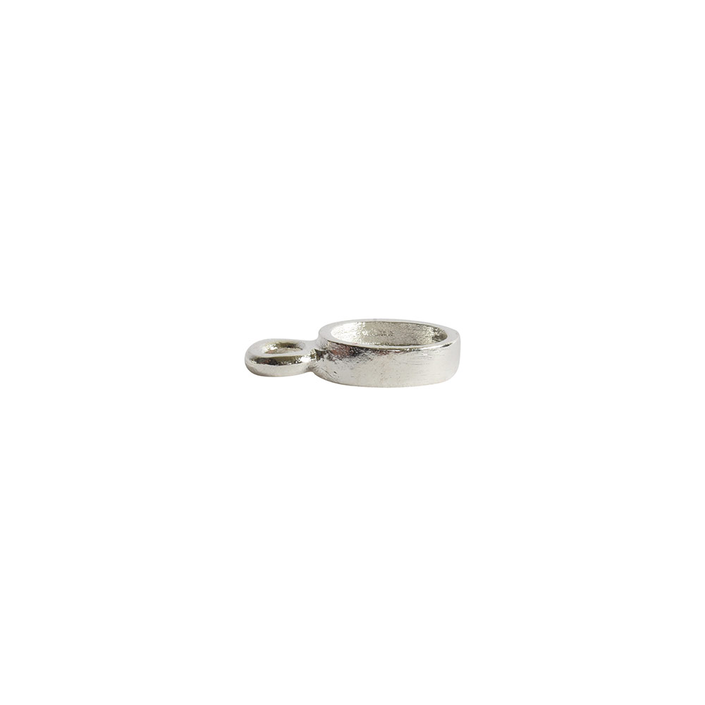 Bitsy Bezel Oval Single LoopSterling Silver Plate