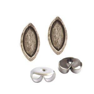 Earring Post Itsy Navette Bullet ClutchAntique Silver Nickel Free