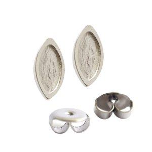 Earring Post Itsy Navette Bullet ClutchSterling Silver Plate Nickel Free