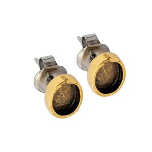 Earring Post Itsy Oval Bullet ClutchAntique Gold Nickel Free