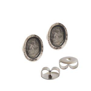 Earring Post Itsy Oval Bullet ClutchAntique Silver Nickel Free