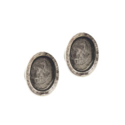 Earring Post Itsy Oval Bullet ClutchAntique Silver Nickel Free