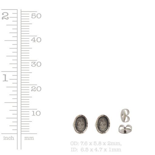 Earring Post Itsy Oval Bullet Clutch