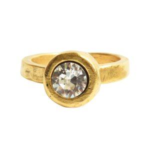 Ring Organic Bezel Mini Circle Size 9Antique Gold