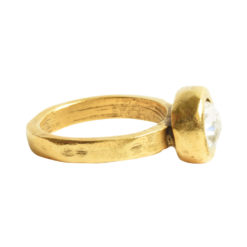Ring Organic Bezel Mini Circle Size 9Antique Gold