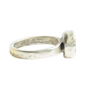 Ring Organic Bezel Mini Circle Size 9Antique Silver
