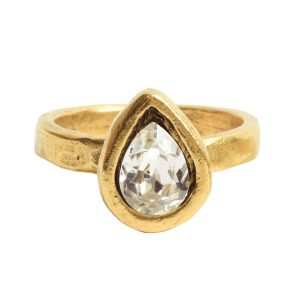 Ring Organic Bezel Mini Drop Size 8Antique Gold