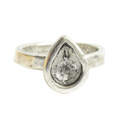Ring Organic Bezel Mini Drop Size 8Antique Silver