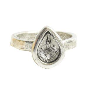 Ring Organic Bezel Mini Drop Size 8Antique Silver