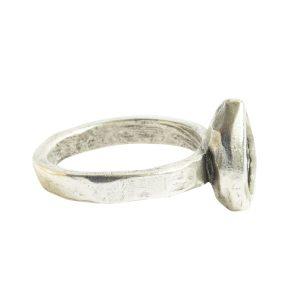 Ring Organic Bezel Mini Drop Size 9Antique Silver