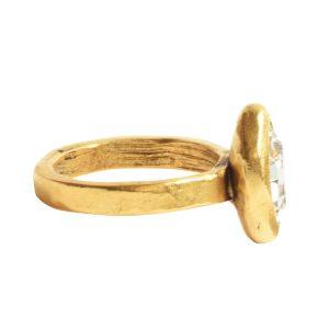 Ring Organic Bezel Mini Navette Size 8Antique Gold