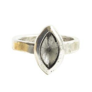Ring Organic Bezel Mini Navette Size 8Antique Silver