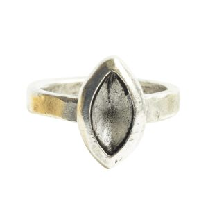 Ring Organic Bezel Mini Navette Size 9Antique Silver