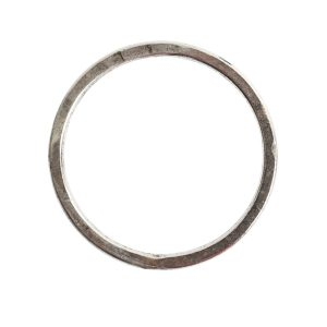 Hoop Flat Large Circle 35mm Diameter<br>Antique Silver
