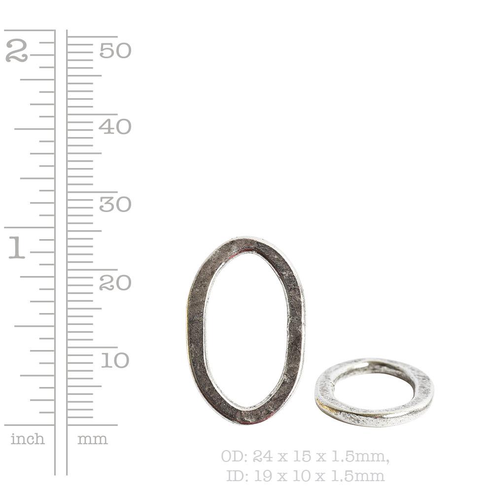 Hoop Flat Small Oval 24x15mm DiameterAntique Silver