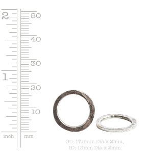 Hoop Hammered 18mm Circle<br>Sterling Silver Plate