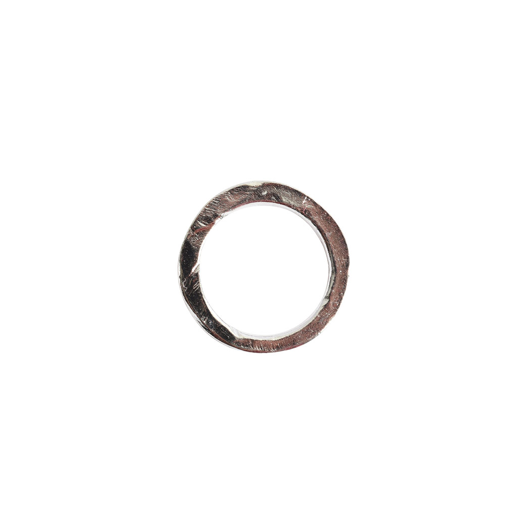 Hoop Hammered 18mm CircleSterling Silver Plate
