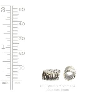 Metal Bead Tube 12mm<br>Antique Silver