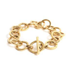 Bracelet 15mm Circle LinkAntique Gold
