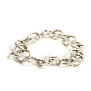 Bracelet 15mm Circle LinkAntique Silver