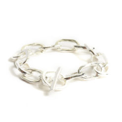 Bracelet 18x10mm Oval LinkSterling Silver Plate