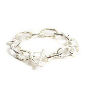 Bracelet 18x10mm Oval LinkSterling Silver Plate