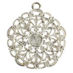 Pendant Charm Grande Filigree Single LoopSterling Silver Plate