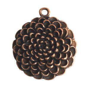 Pendant Charm Grande Mum Flower Single LoopAntique Copper